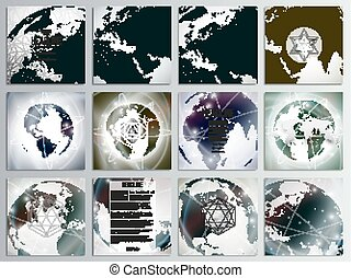Set of 12 creative cards, square brochure template design. Dotted world globes and maps, digital style vector illustration