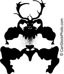 Mysterious Stag - Stylized black silhouette of a creepy...