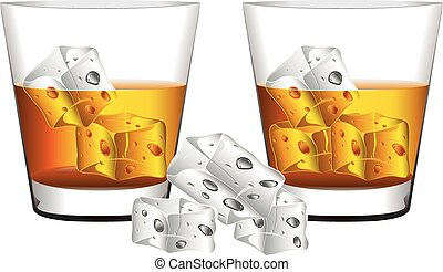 Whiskey Glass - Glass of whiskey with ice cubes illustration...