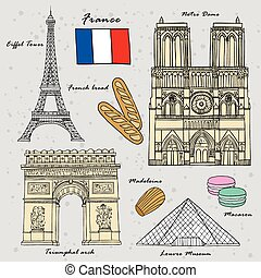 travel concept of France in exquisite hand drawn style