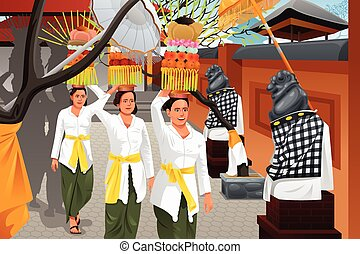 Balinese people in a traditional celebration - A vector...