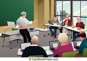 Adults in a College Classroom - A vector illustration of...