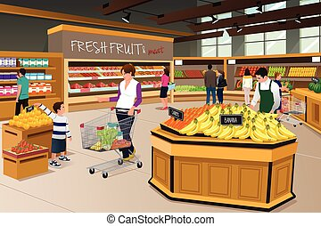 Mother Son Shopping in a Grocery Store - A vector...