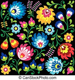 Floral Polish folk art pattern - Traditional colorful...