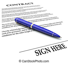 Contract Pen Sign Here Line Legal Agreement Document Signing...