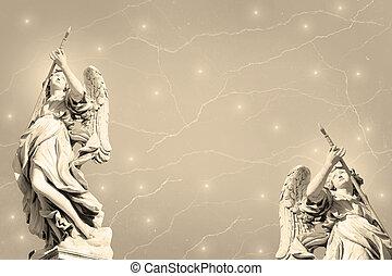 grunge, bakgrund, änglar