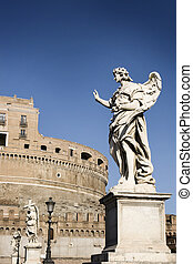 Statues of angels on the Sant\'Angelo Bridge Italy, Ro