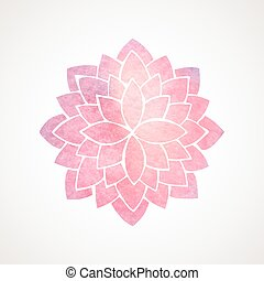 Watercolor pink flower pattern. Silhouette of lotus. Mandala...