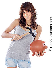 casual girl with money box - attractive young casual girl...