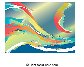 bubbles, fishes and waves - waves, fishes and bubbles over a...