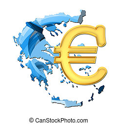 Map of Greece with euro sign