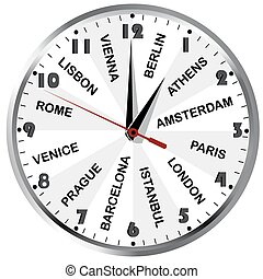 Clock with cities from Europe - Wall clock with European...