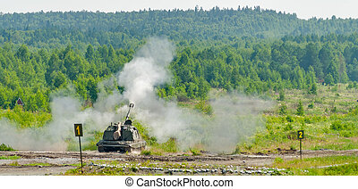 Shooting of 152 mm howitzer 2S19 Msta-S. Russia - Nizhniy...