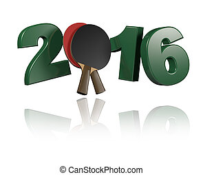 Table Tennis 2016 Design with a White Background
