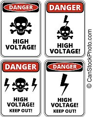 High voltage - Set of danger High voltage signs, four...