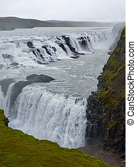Gulfoss waterfall - Two cascades od Gulfoss waterfall in...
