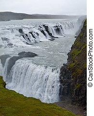 Gulfoss waterfall - Two cascades od Gulfoss waterfall in...