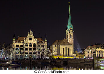 Fraumunster Church, Zurich - Evening. The Fraumunster Church...