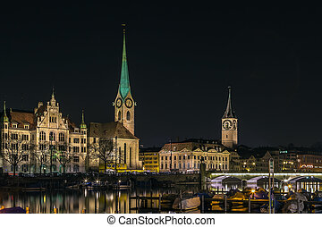 view of Fraumunster and st. Peter church, Zurich - view of...