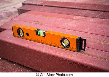 orange building level on the steel