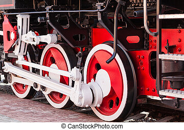 vintage, steam train close-up