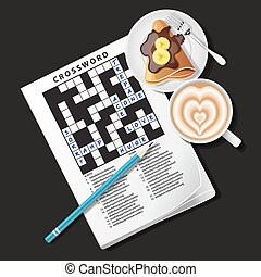 crossword game with mug of coffee and crepe - top view of...