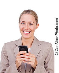 Self-assured businesswoman sending a text isolated on a...
