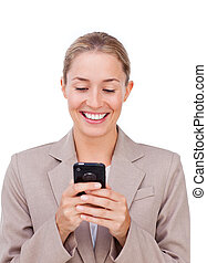 Positive businesswoman on phone isolated on a white background