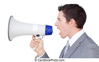 Businessman giving instructions with a megaphone isolated on...