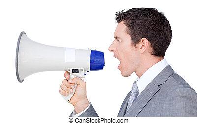 uomo affari, Dare, istruzioni, megafono