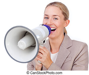 Animated businesswoman shouting through a megaphone isolated...