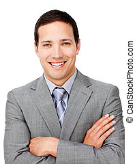 Positive businessman with folded arms against a white...