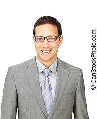 Sophisticated businessman wearing glasses isolated on a...