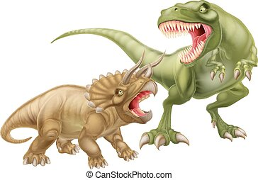 T Rex Versus Triceratops illustration with a tyrannosaurs...
