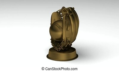 Turning golden baseball glove - Close-up on a turning golden...