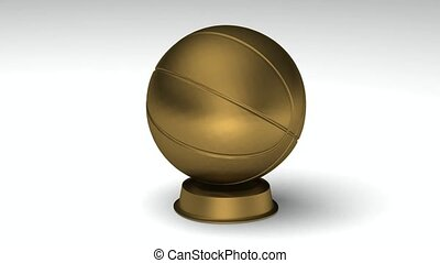 Turning golden basketball - Close-up on a turning golden...