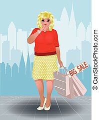 Plus size shopping woman in city, vector illustration
