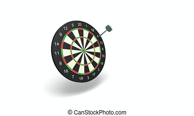 Darts putting into a black target on a white background
