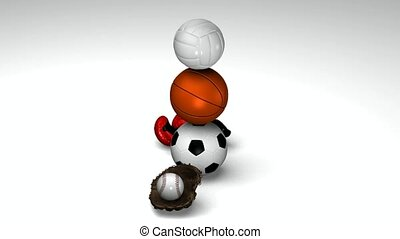 Five sports objects - Soccerball, basketball, volleyball,...