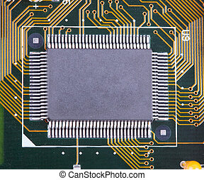 Big integrated microcircuit on circuit board surface