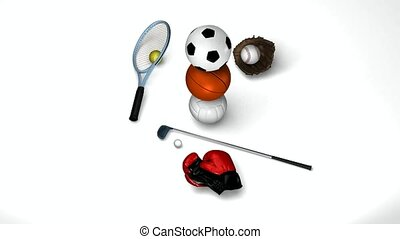 Seven sports objects - Tennis, golf, soccerball, basketball,...