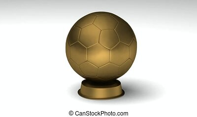 Turning golden soccerball - Close-up on a turning golden...