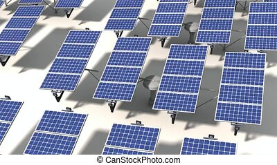 Field of solar panels which following the sunlight