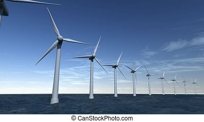 Wind turbines offshore on ocean with a blue sky