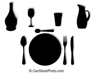Utensils in silhouette to represent lunch and dinner set