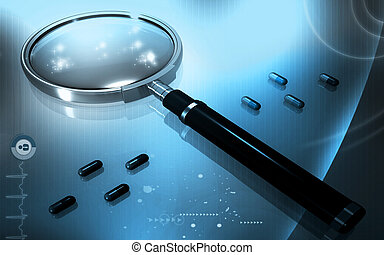 Magnifying lens - Digital illustration of Magnifying lens in...