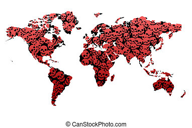 Crime Statistics Death Map showing the World