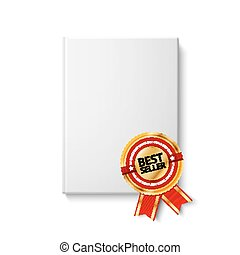 Realistic blank hardcover book, front view with golden and...
