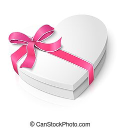 Vector realistic blank heart shape box with pink and white...