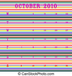 october 2010 - stripes - october 2010 calendar, art...